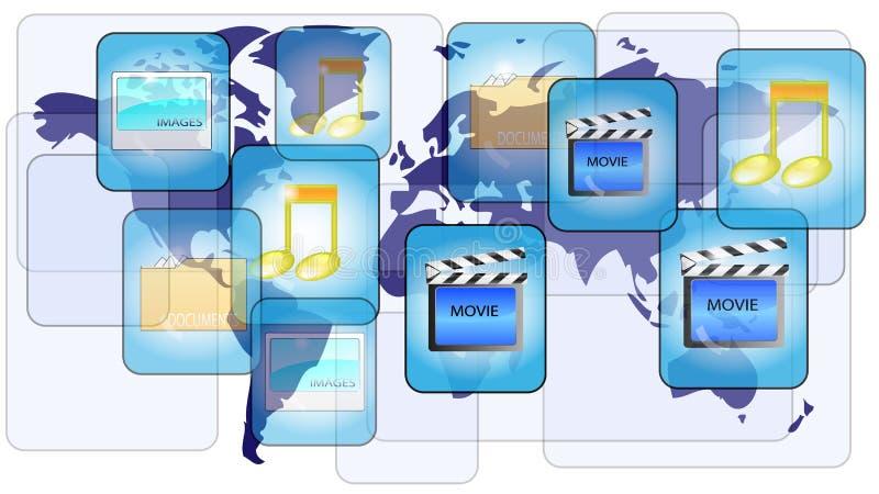online-delande värld för mappöversikt royaltyfri illustrationer
