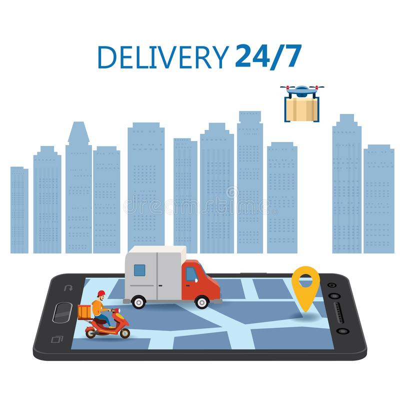 Online Delivery Concept and Shopping Online. Smartphone with moped, truck, drone, buyer, 3d vector isometric vector illustration