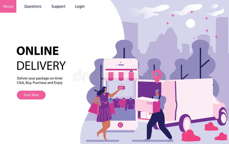 Online delivery concept with women buying stuff from internet and receive a package. Landing modern page template vector illustrat. Ion - Vector stock illustration