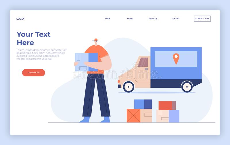 Online delivery service concept, courier with parcel and truck. Internet shipping web banner. Landing page template. Flat vector stock illustration