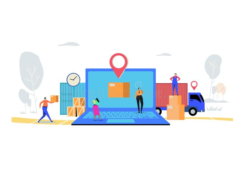 Online delivery service concept, Order, Cargo, Mobile App, GPS Tracking Service. Worldwide Logistic Delivery. Flat cartoon. Character graphic design. Landing vector illustration