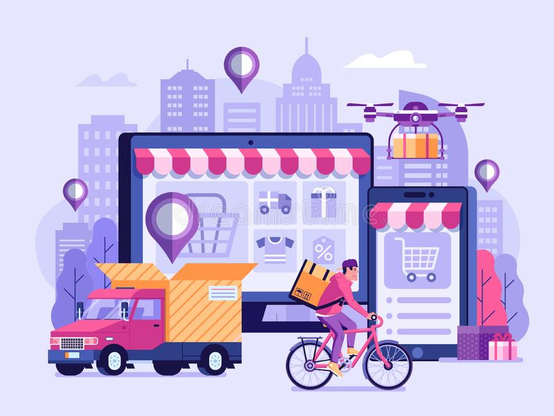 Online Delivery Service Illustration. Online delivery service UI illustration with dron, courier on bike and delivery van with box. Internet shipping concept vector illustration