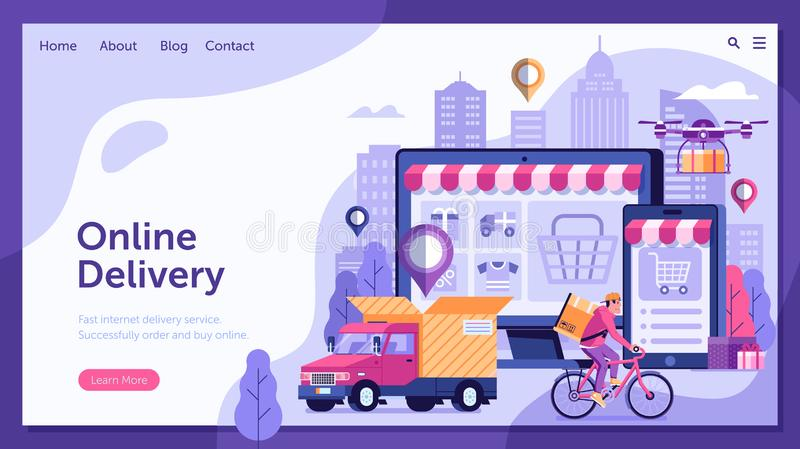 Online Delivery Service Landing Page. With dron, courier on bike and delivery van with box. Internet shipping web banner with modern city. Transportation and royalty free illustration