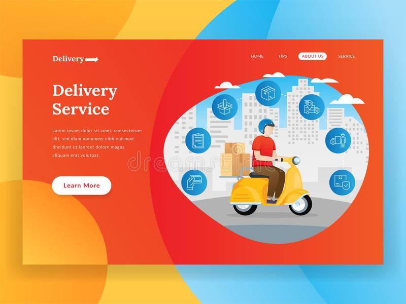 Online delivery service landing page with scooter. Online delivery landing page illustration. Online delivery service vector illustration concept. Internet stock illustration