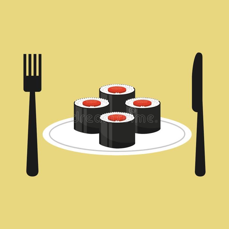 Online delivery sushi rolls. Vector illustration eps 10 royalty free illustration