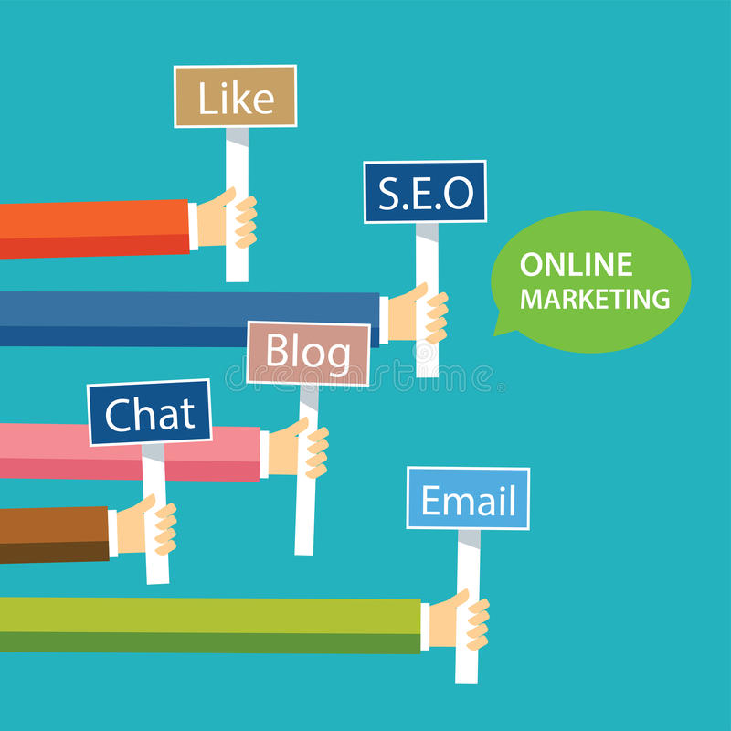 Online-design för marknadsföringsbegreppslägenhet stock illustrationer