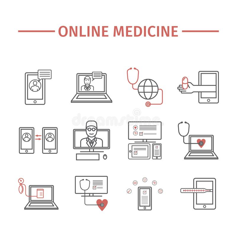 Online diagnosis and treatment. Virtual medical consultation. Line icons. infographic set. royalty free illustration