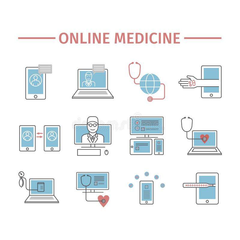 Online diagnosis and treatment. Virtual medical consultation. Vector line icons. Flat infographic set. vector illustration