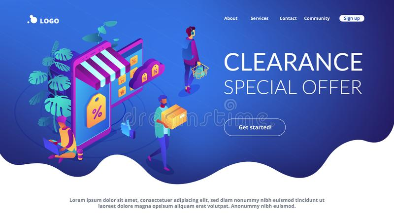 Online discount store concept Isometric 3D landing page. Shoppers buying with gadgets in online discount store. Outlet store and online sale, clearance and stock illustration