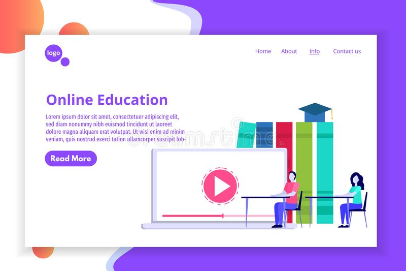 Online distance education concept, Internet studying, e-learning training courses. Vector illustration royalty free illustration