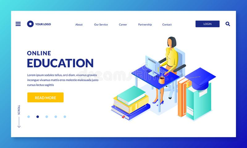 Online distance education and study concept. Vector 3d isometric illustration of student girl sitting at computer. Landing page or banner design template royalty free illustration