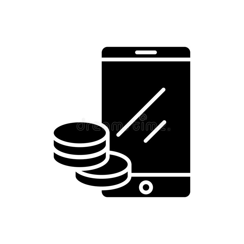 Online dochodu czerni ikony pojęcie Online dochodu płaski wektorowy symbol, znak, ilustracja royalty ilustracja