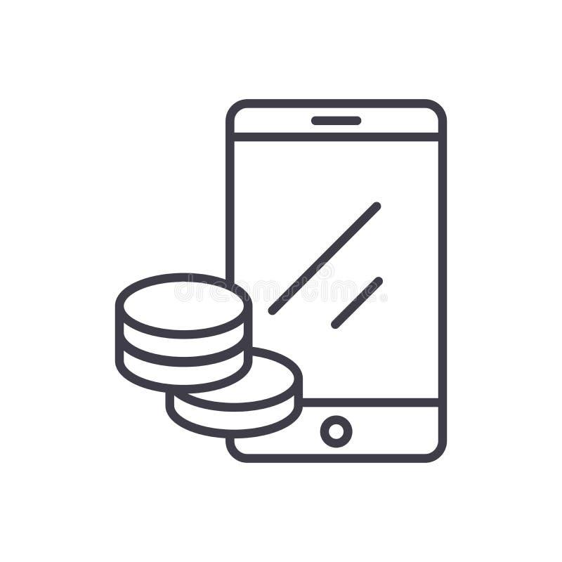 Online dochodu czerni ikony pojęcie Online dochodu płaski wektorowy symbol, znak, ilustracja ilustracji