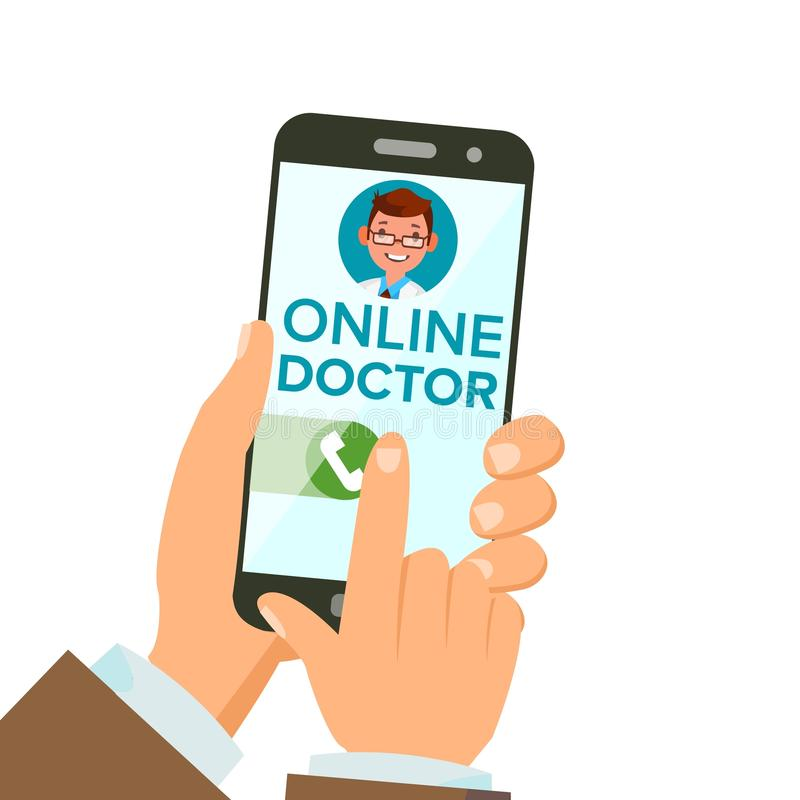Online Doctor App Vector. Hands Holding Smartphone. Online Consultation. Man On Screen. Healthcare Mobile Service. Isolated Illustration stock illustration