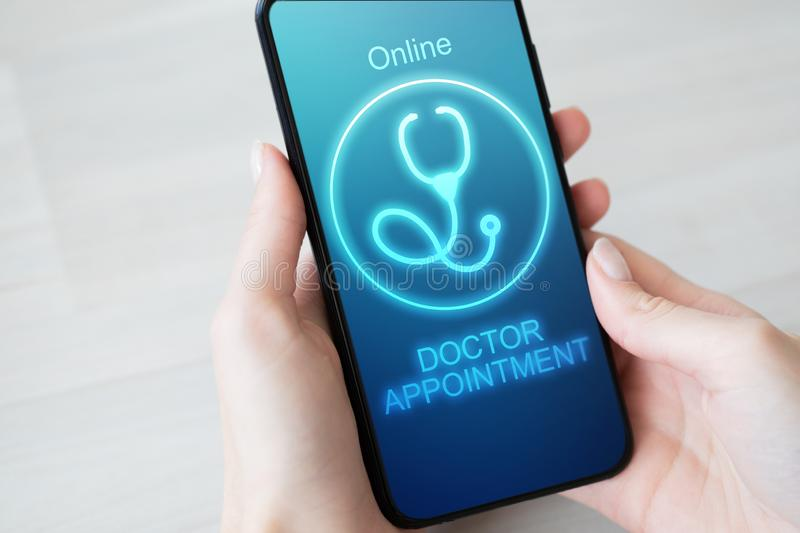 Online Doctor appointment on mobile phone screen. Medical and health care concept. Online Doctor appointment on mobile phone screen. Medical and health care royalty free stock images