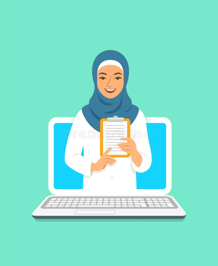 Young arab woman doctor online consultation. Online doctor concept. Medical internet consultation. Vector flat illustration. Healthcare consulting web service vector illustration