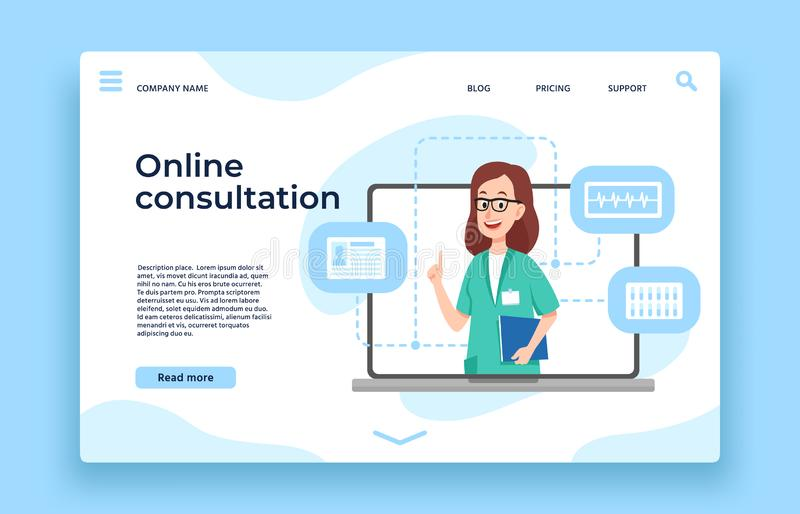 Online doctor consultation. Patient health consultation, online medical help and doctors meeting landing page vector. Online doctor consultation. Patient health stock illustration