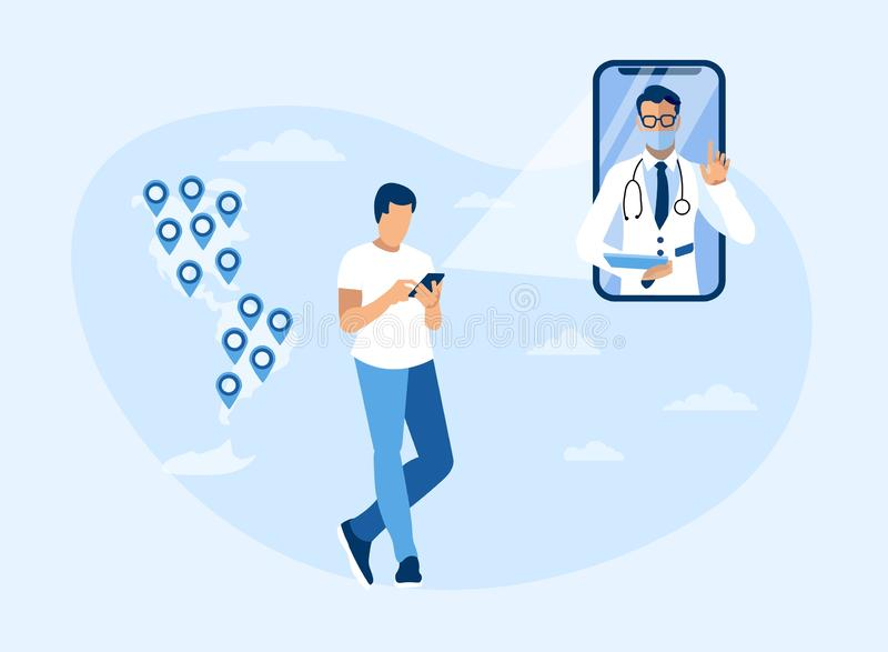 Online Doctor Consultation Throughout Americas. Advertisement. Cartoon Man Using Mobile Application. Phone Screen with Specialist in Uniform. America Map with stock illustration