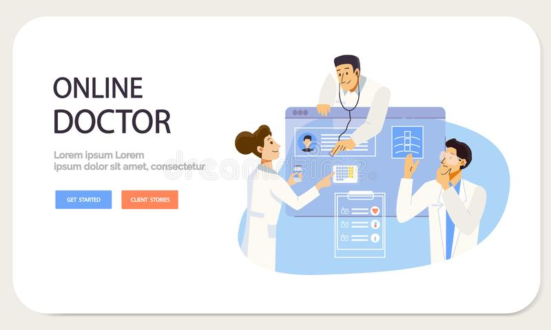 Online doctor Landing page template. Medical consultation service by Internet. Medicine and Healthcare Concept in flat. Style royalty free illustration