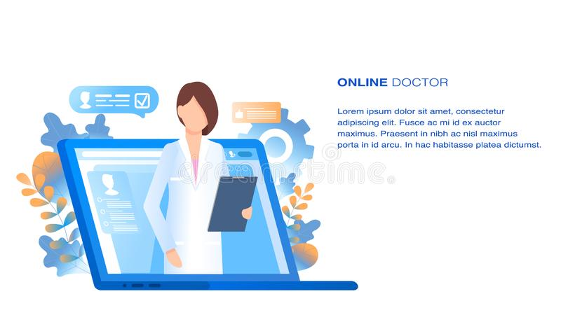 Online Doctor Medical Consultation and Support vector illustration
