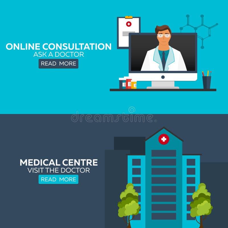 Online doctor. Online consultation. Ask doctor. Medical illustration. Medical centre. Visit the doctor. Hospital and health care. Online doctor. Online royalty free illustration