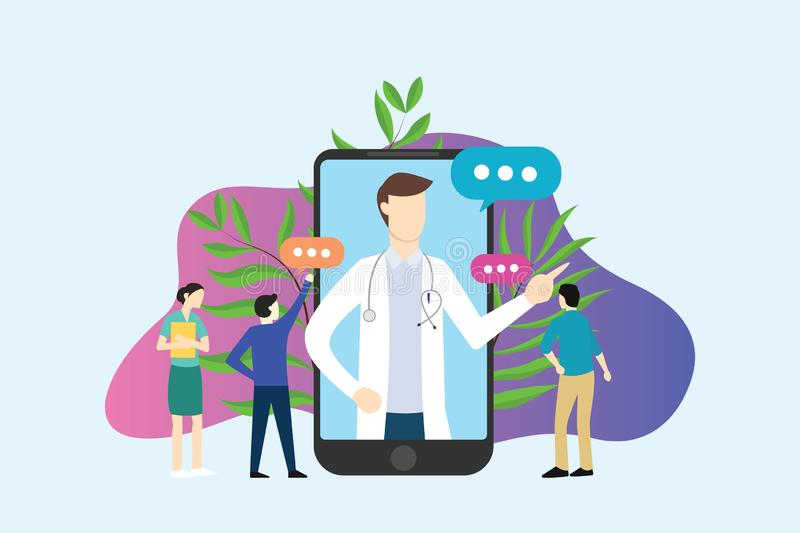 Online doctor service apps on smartphone with people discussion together - vector royalty free illustration
