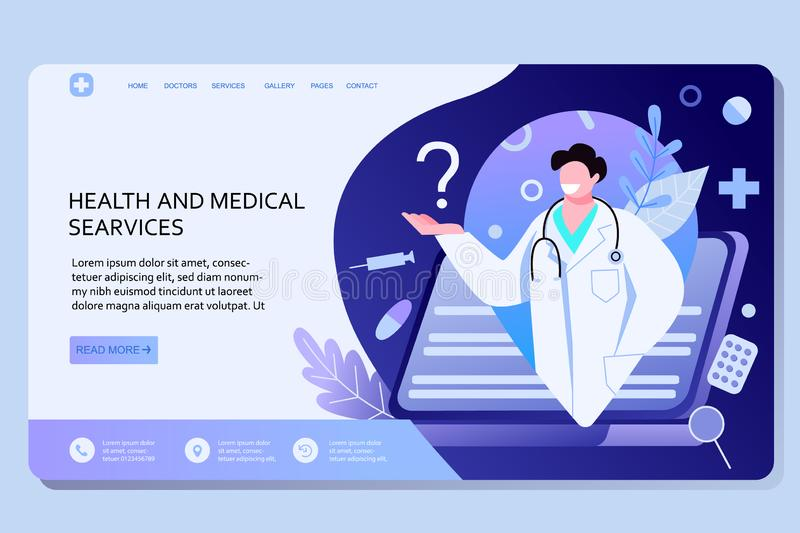 Online doctor services web landing page template. Modern vector illustration concepts for website and mobile website stock images