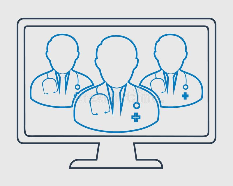 Online Doctor Team line icon. On gray Background vector illustration