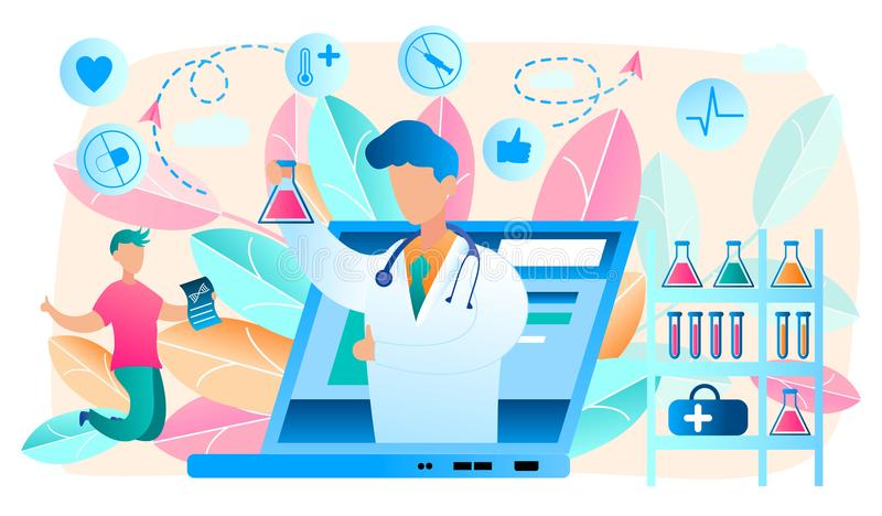 Online Doctor. Telemedicine, Laboratory. Vector. Online Doctor. Telemedicine and Online Laboratory. Medical Consultation by Internet with Doctor. Medicine and royalty free illustration