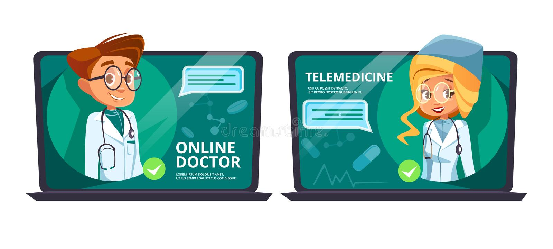 Online doctor telemedicine vector cartoon. Illustration. Remote medical assistance technology and digital web hospital healthcare for internet medical aid and royalty free illustration