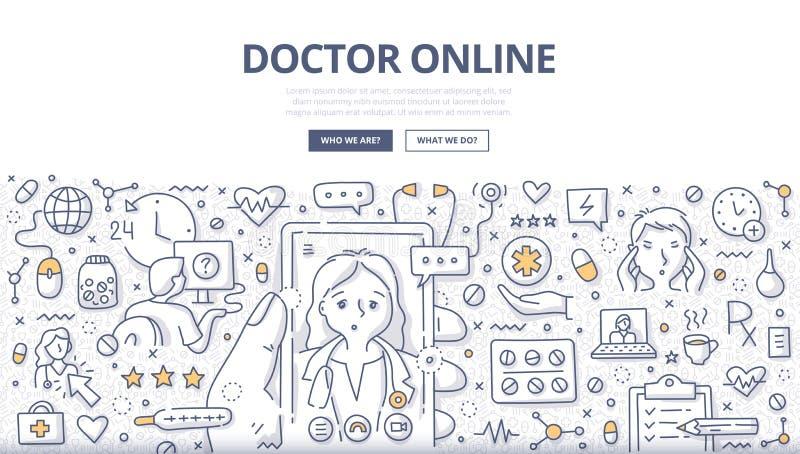 Online Doodle Concept医生 库存例证