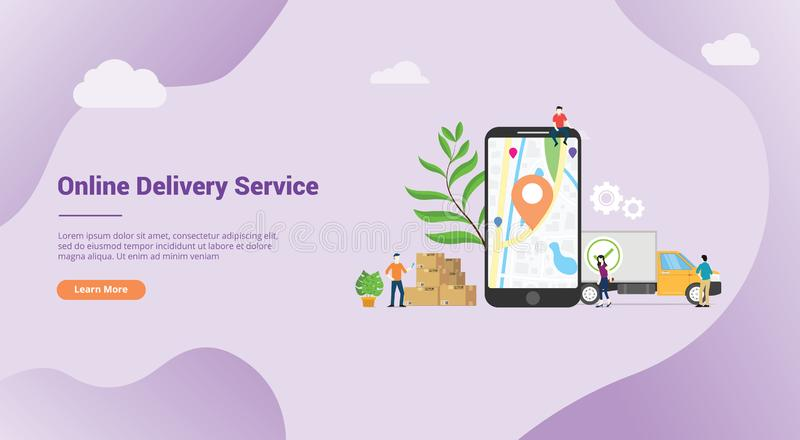 Online doręczeniowej usługi pojęcie z apps gps mobilną lokacją dla strona internetowa szablonu desantowego sztandaru lub homepage ilustracja wektor