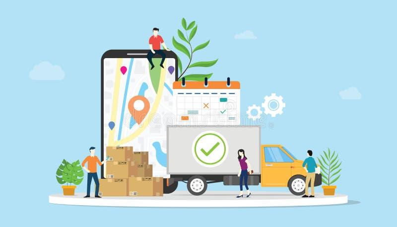 Online doręczeniowy towarowy ecommerce pojęcie z drużynowymi ludźmi ciężarowymi i mobilnym apps smartphone - wektor royalty ilustracja