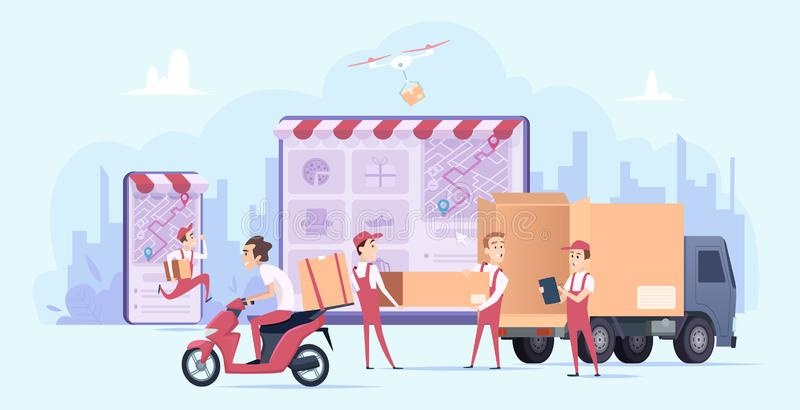 Online dostawa Szybki cyfrowy zakupy i miastowych kurier przewiezionej usługi wysyłki prezentów wektorowy doręczeniowy pojęcie ilustracja wektor