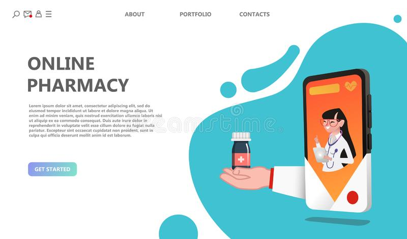 Online drugstore healthcare pharmacy concept. Internet drugstore. Medical diagnosis in hospital. Woman doctor online landing page. Illustration of web doctor royalty free illustration