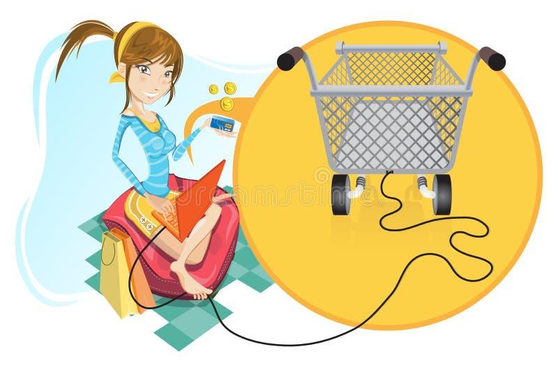 online dziewczyna zakupy ilustracja wektor