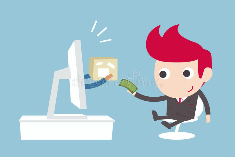 Online business. Online, E-business, cartoon stock illustration