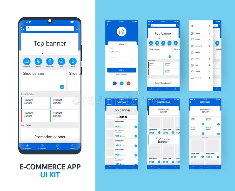 Online e-commerce app UI kit for responsive mobile app with different GUI layout including Login, main page, categories ,. Promotion page screens, blue themes vector illustration
