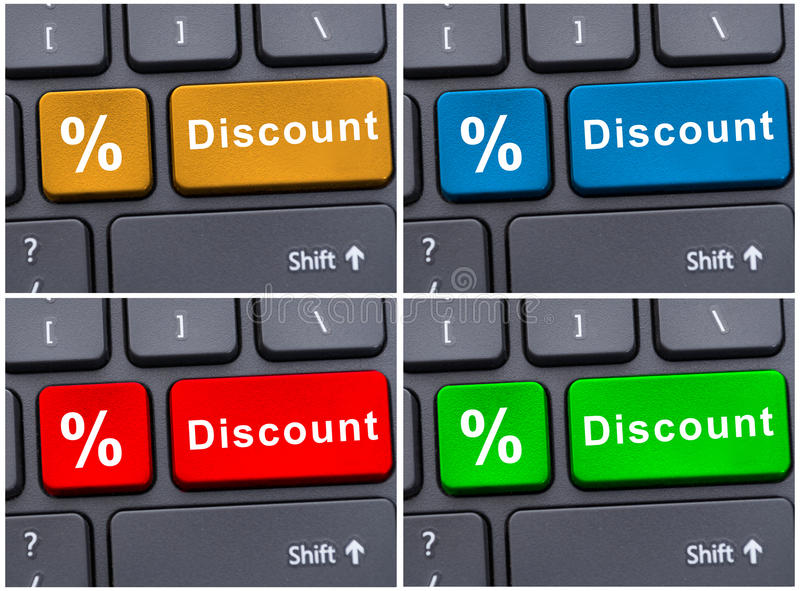 Online e-commerce with discount button royalty free stock photography