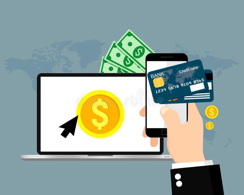 Online e pagamenti mobili Illustrazione di vettore illustrazione di stock