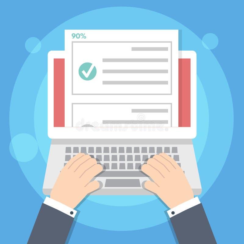 Online-E-utbildning för frågesport-, prov-, gransknings- eller kontrollistaexamenlista begrepp stock illustrationer