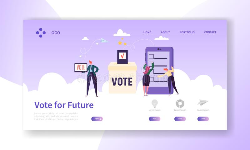 Online E-voting Registration Concept Landing Page. Man Voting in Democracy Government Electronic Election vector illustration