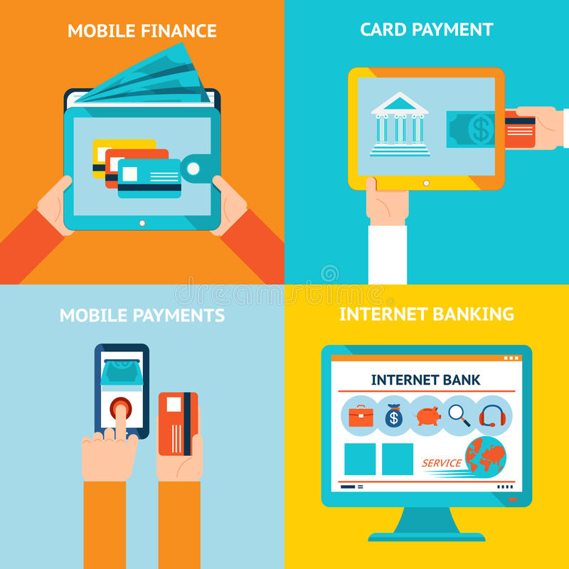 Online ed attività bancarie mobili illustrazione vettoriale