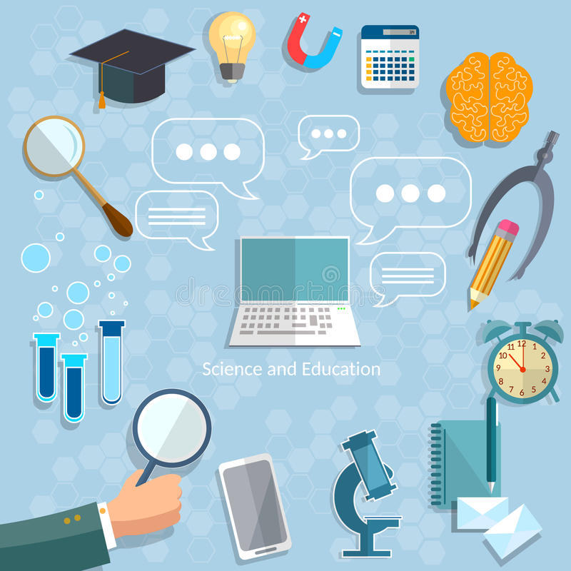 Online education back to school objects graduation concept stock illustration