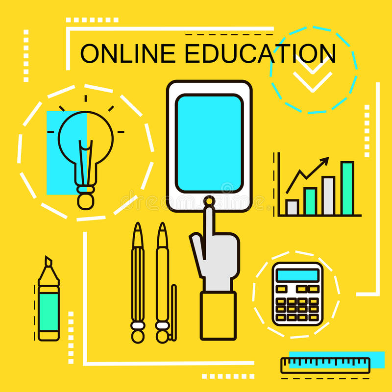 Online Education banner concept. E-learning. Thin Line icons. Vector Illustration.For web banners and promotional materials. royalty free illustration