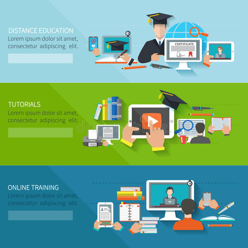 Online Education Banner vector illustration
