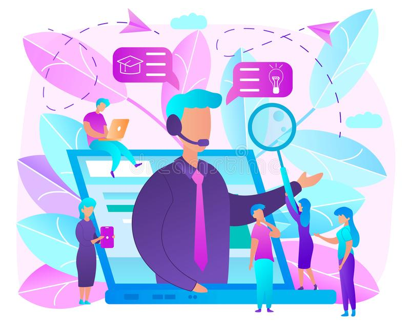 Education with Online Courses Flat Vector Concept. Online Education Bright Colors Flat Vector Concept. Using Internet Technologies to Get Knowledge with Distant stock illustration