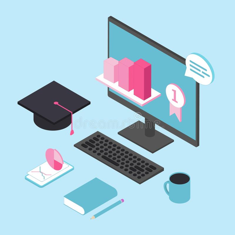 Online education for business concept. Online training courses, specialization, university studies. stock illustration