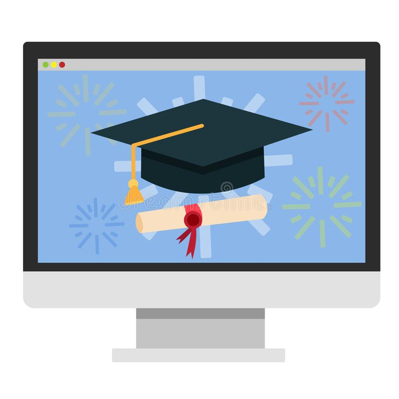 Online education concept. Digital training and distance. Learning. Study in internet using computer. Isolated vector illustration in cartoon style vector illustration