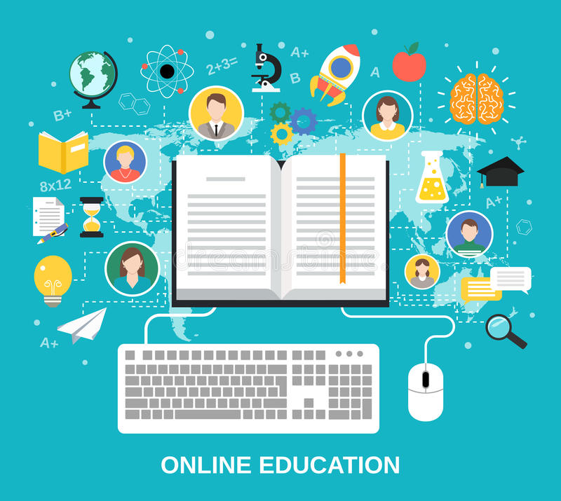 Online education concept vector illustration
